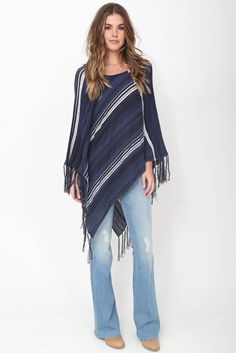 Goddis Tessa Fringe Poncho in Blueberry Boho Luxe Fashion
