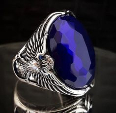 Big Rings, Wide Band Rings, Sapphire Stone, Blue Sapphire Rings, Unique Mens Rings, Rings For Men, Men's Jewelry Rings, Jewelry Watches, Eagle Ring