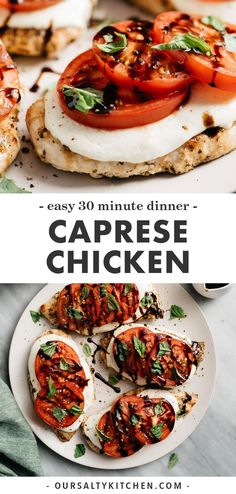 Quick, easy, seasonal weeknight dinners don't get much better than Caprese Chicken! Grilled chicken is topped with mozzarella, fresh tomato. Gluten Free Recipes For Dinner, Healthy Dinner Recipes, Vegetarian Recipes, Cooking Recipes, Gluten Free Dinners Easy, Easy Grill Recipes, Paleo Recipes Dinner Chicken, Healthy Summer Dinner Recipes, Summer Chicken Recipes