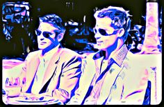 My painting of intensity in Ocean's Eleven...Brad Pitt and George Clooney.