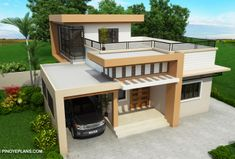Meet Kassandra, two storey house design with roof deck. The ground floor has a total floor area of 107 square meters and 30 square meters at the second floor House Roof Design, 2 Storey House Design, Small House Design, Modern House Design, Design For Small Bedroom, Bedroom Small, Two Storey House Plans, Double Storey House, Modern Bungalow House
