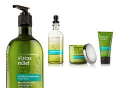 Bath and Body Works: Stress Relief...Anything from the Aromatherapy Stress Relief Set from Bath and Body Works :)