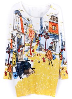 Yellow Long Sleeve Paris Print Sweater Dress