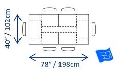 Minimum dining table dimensions required for 6 people.