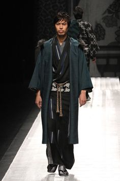 Awesome runway show in Tokyo.  Like the hoodie on the haori on the men's pc and image 108 is an interesting Furisode in that it is all shades of white, gray black with a floral print, not typical furisode.