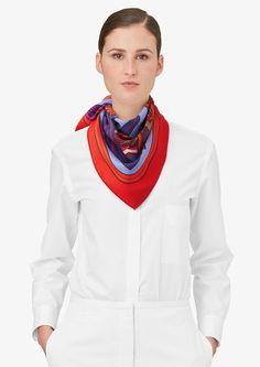 100% vintage silk twill scarf, hand-rolled (70 x 70 cm)