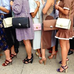 A row of boxy bags and chic shoes