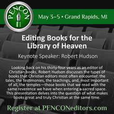 Robert Hudson, author of The Christian Writer's Manual of Style, is our 2018 keynote speaker.