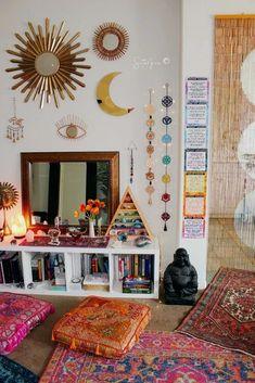 Amiable empowered meditation room design Home Page Hippy Room, Boho Room, Hippie Bedroom Decor, Decor Room, Hippie House Decor, Gothic Bedroom, Modern Bedroom, Wall Decor, Zen Room