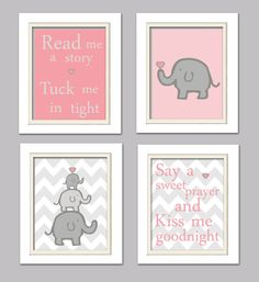 Nursery Quad, Pink and Grey Nursery, Elephant Nursery, Set of 4 8X10, Pink, Grey via Etsy