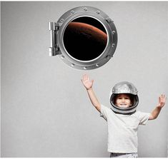 Port Scape Orbiting Mars Porthole Window Wall Decal Vinyl Sticker Graphic Instant Space Orbit 3D Window Earth View Kids Game Room Decor Art