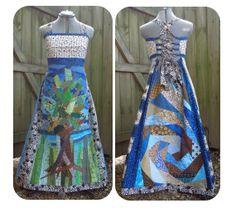 Scrappy Tree Spiral Patchwork Dress  by PineapplePopHandmade, $286.00