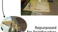 Ikea dish drainer repurposed as paintbrush dryer.
