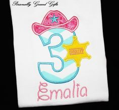 Birthday Sheriff Callie Inspired Wild West Cowgirl Custom Embroidered Personalized Applique Shirt or Bodysuit-You Pick the Year and Colors by PersonallyGraced, $25.00