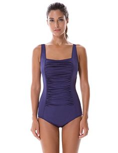 SYROKAN Womens Pleated Maillot Endurance Athletic Training One Piece Swimsuit Navy 34 inch * Check out the image by visiting the link. (Note:Amazon affiliate link)