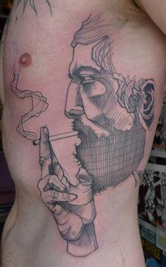 man smoking tattoo