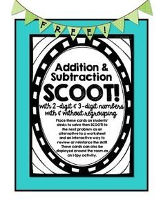 Use this set of 28 3-Digit Subtraction SCOOT cards as an interactive way to review and reinforce addition and subtraction skills with and without the use of regrouping. Students will be required to solve problems with both two-digit and three-digit numbers as well as subtract across zeros.