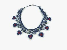 Red Blue White Oya Flowers Crochet Necklace with Stone Beads - Blue Beaded Choker - Turkish Oya Jewelry - Statement Knitted Necklace -
