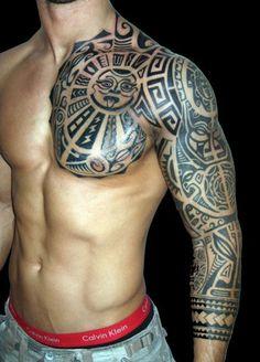 maori chest piece tattoo - Google Search