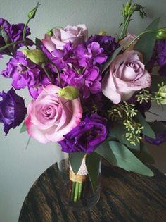 Shades of Purple & Lavender Bridesmaid Bouquet:: The Vines Flower & Garden Shop