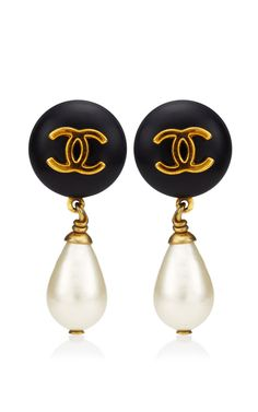 Vintage Chanel Black Pearl Drop Earring From What Goes Around Comes Around by Vintage Chanel - Moda Operandi
