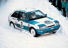 Timo Salonen - Voitto Silander - Mazda 323 GTX, Swedish Rally 1989 Mazda Cars, Jdm Cars, Sport Cars, Race Cars, Mazda 323, Nostalgia, Expedition Vehicle, Car Drawings, Japanese Cars
