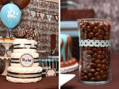 Blue and Brown Zebra- Baby Shower Theme