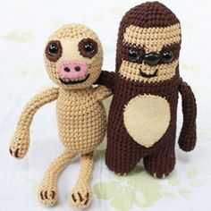 Im a baby sloth.    Crocheted two-toed and three-toed baby sloths are sure to make anybody smile.
