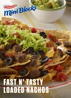 VELVEETA Fast 'n Tasty Loaded Nachos are exactly what they claim to be: fast and tasty. This simple recipe only involves 6 ingredients. In fact, you just need two VELVEETA Mini Blocks and you might even have the rest of those ingredients on ha Mexican Dishes, Mexican Food Recipes, Great Recipes, Favorite Recipes, Appetizer Recipes, Dinner Recipes, Cheap Appetizers, Healthy Snacks, Healthy Recipes