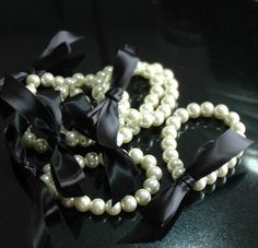 Pearl Bracelet with Ribbon Tie Custom by whitetulipboutique, $8.00 - flower girl