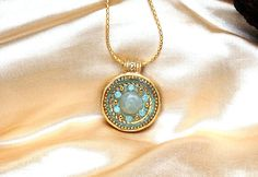 Prehnite and gold pendant necklace - Round gold pendant - Electroformed jewelry