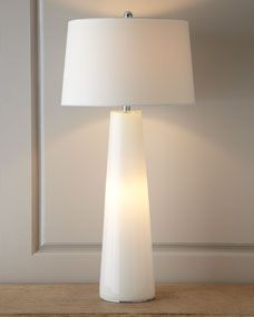 Horchow white 'Nightlight' table lamp---look for something in this shape, w/ marble or alabaster base rather than glass