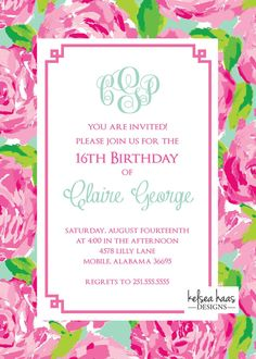 Lilly Pulitzer Inspired Monogram Printable Invitation DIY Sweet 16 Graduation Bridal Shower Bab