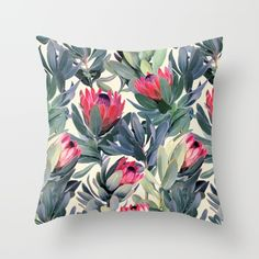 Buy Painted Protea Pattern Throw Pillow by micklyn. Worldwide shipping available at Society6.com. Just one of millions of high quality products available.
