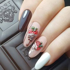 New nail art trends bring you unlimited nail design inspiration - Page 108 of 117 - Inspiration Diary Spring Nail Art, Spring Nails, Summer Nails, Trendy Nails, Cute Nails, Watermelon Nail Designs, Almond Nail Art, Almond Nails, Fruit Nail Art