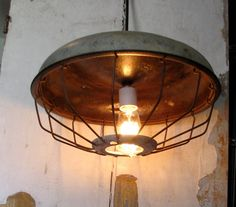 Industrial lighting Pendant Lamp Extra Large Vintage Farmhouse caged light hanging swag. $150.00, via Etsy.