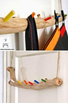 6 CUTE DIY PROJECTS FOR KIDS: clothes hanger made out of a branch and colour pencils