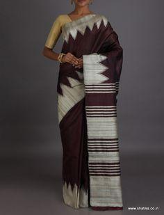 Ashima Seal Brown And White Temple Border #DupionSilkSaree