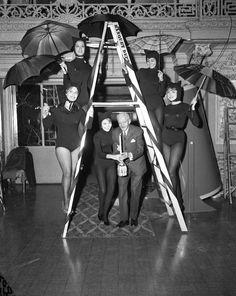 Nathaniel Leverone, originator of the Anti-Superstition Society, celebrates Friday the 13th with Judt Kurtz, Bernadine Stevens, Patty Allen, Tani Sawa, and Connie Jean at Pick-Congress Hotel - Dec. 13 1963.