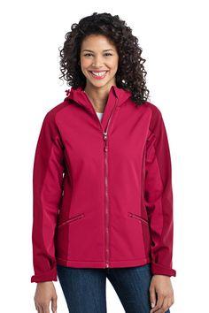 Port Authority Ladies Gradient Hooded Soft Shell Jacket L312 Dark Fuchsia/ Loganberry