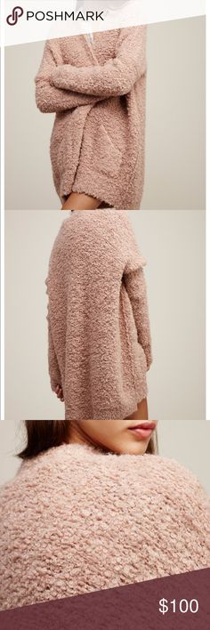 """Free People Boucle Slouch Cardi Free People Boucle Slouch Cardi in Dust Pink. Worn a handful of times. Very oversized and super comfy! Cozy up in this super slouchy knit cardigan with large front snap button closures. Side pocket details. 61% Acrylic 25% Alpaca 13% Nylon 1% Spandex Hand Wash Cold Import Bust: 56"""" = 142.24 cm Length: 28.5"""" = 72.39 cm Sleeve Length: 22.5"""" = 57.15 cm Free People Sweaters Cardigans"""