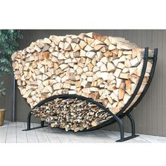 8ft Semicircle Firewood Rack w/Kindling Holder & Cover from Woodland Direct