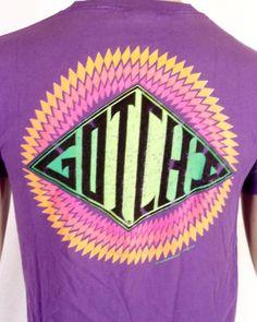 695d4519dd vtg 80s 90s soft thin Retro GOTCHA Loud Neon Logo Surf T-Shirt Skate purple  S/M