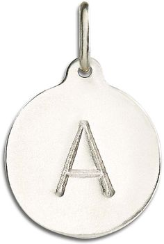 "Helen Ficalora ""A"" Alphabet Charm White Gold. As Seen On: Oprah Winfrey, Julianne Moore, Gwyneth Paltrow, Tina Fey, Anne Hathway, Blake Lively, Jennifer Garner and many more. As Seen In: Ellen, Oprah, Martha Stewart, Glamour, Vogue, People Magazine, The Real Housewives, Steve Harvey, The Price is Right and many more. Made With Real Solid 14k Gold. Made in the United States. *Products May Appear Larger In Photos Than In Person."