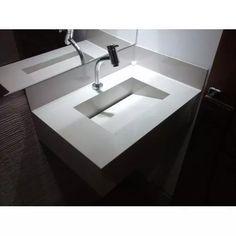 Pia De Porcelanato Portobello Com Cuba Esculpida - R$ 800,00 Concrete Table, Corian, Sink, Sweet Home, New Homes, Bathtub, Bathroom, Design, Home Decor