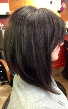 Long, asymmetric / angled bob with fringe #hair #brunette #lob