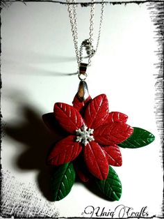 Polymer Clay Christmas Flower Pendant Polymer Clay by UniqCrafts, $24.99