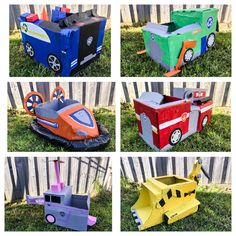 Party games , games for children activities Paw Patrol Party cardboard vehicles. Ryder Paw Patrol, Paw Patrol Games, Paw Patrol Toys, Halloween Activities For Kids, Kids Party Games, Birthday Party Games, Boy Birthday, Party Party, Halloween Ideas