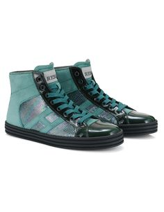 #HOGANREBEL Women's Fall - Winter 2013/14 #collection: High-Top #sneakers R141 in patent leather, suede and sequins.