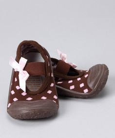 Take a look at this Brown & Pink Polka Dot Gripper Shoe  by Skidders on #zulily today!